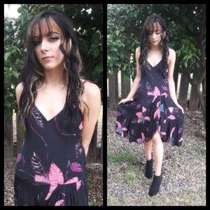Amazing! Vtg 70's Hawaiian style faux wrap dress!